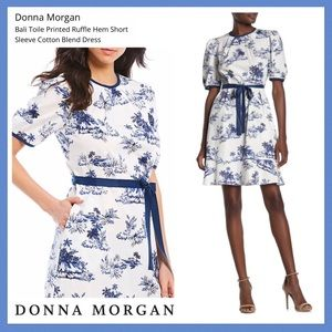 Donna Morgan Bali Toile Ruffle Hem Navy Dress